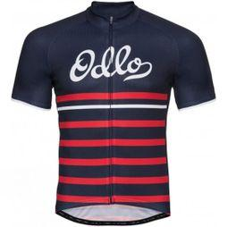 Odlo Mens Stand-Up Collar Short Sleeve Full Zip Fujin Print Diving Navy/Fiery Red Retro Black