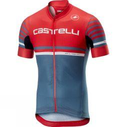 Castelli Free Aero Race 4.1 Full-Zip Jersey Red/Light Steel Blue