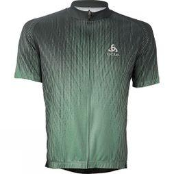 Odlo Mens Active Print Stand-Up Collar Jersey Green