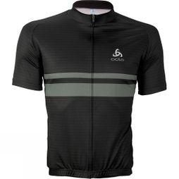 Odlo Mens Active Stripe Print Jersey Black/DGrey