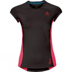 Odlo Womens Ceramicool Pro Base Layer SS Top  Black/Fiery Coral