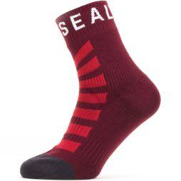 SealSkinz Men's Waterproof Warm Weather Ankle Length Sock with Hydrostop Red/ White
