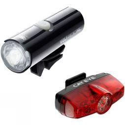 Cateye Volt 400 XC Front Light & Rapid Mini Rear USB Rechargeable Light Set Black