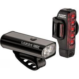 Lezyne Macro 1100 & Strip Pro 300 Light Set Black/Red
