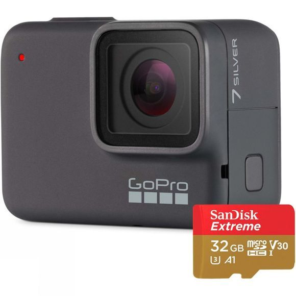 GoPro HERO7 Action Camera Silver + 32GB MicroSD Card .