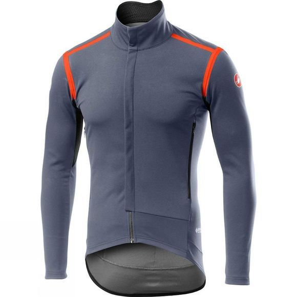 Castelli Mens Perfetto RoS Long Sleeve Jacket Dark Steel Blue / Orange