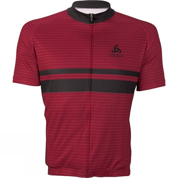 Odlo Mens Active Stripe Print Stand-Up Collar Jersey Red