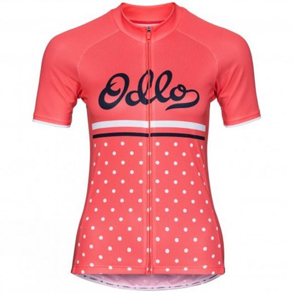 Odlo Womens Short SleeveS Full Zip Fujin Print Dubarry/Retro