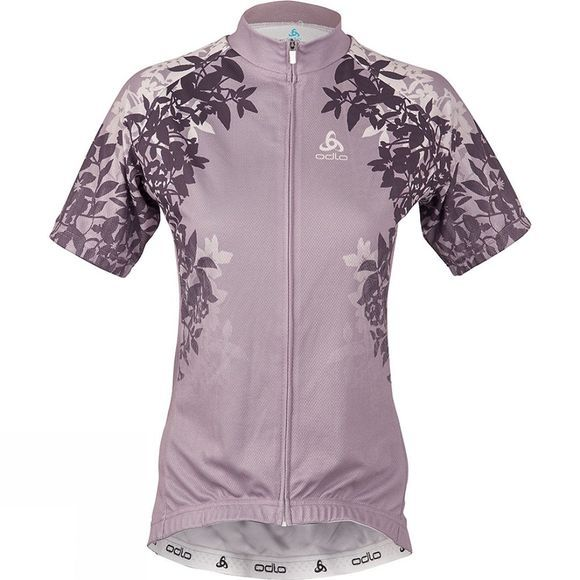 Odlo Womens Active Floral Print Stand-Up Collar Jersey Quail