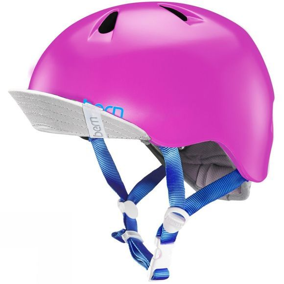 Bern Nina Zipmold Helmet Satin With Flip Visor Hot Pink