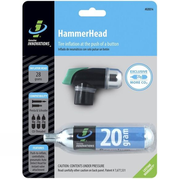 Genuine Innovations Hammerhead CO2 Inflator 20g Black          /Silver
