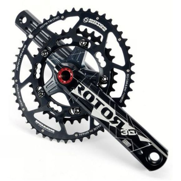 Rotor 3D+ BB30 Crankset 172.5mm 130BCD (excludes rings) Black